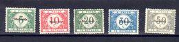 Belgique 1920, Timbres Taxes, De 1919 Surchargés «Malmédy», OC 79 / 83*, Cote 55 € - [OC55/105] Eupen/Malmedy