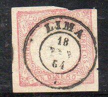 XP2434 - PERU' 1862 , 1 Din Yvert N. 8 Usato. Margine Superiore Corto - Perú