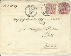 NDP U 28B, 1 Gr. Zusatzfr. Auf 1 Gr. Ganzsache Brief V. Berlin PE10 I.d. Schweiz - Norddeutscher Postbezirk (Confederazione Germ. Del Nord)