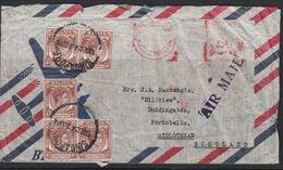 Singapore 1954 Cover To UK 5x4c + Meter Mark SS Caltex Rome - Singapore (...-1959)