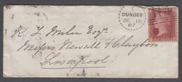 GB 1867 Cover Dundee Dotted Circle Broughty Ferry 1d Red - Storia Postale