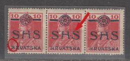 ☀ SHS Yugoslavia 1918, CROATIA - Two Printing Flaws Including H•S  ** Michel 84  KARL & ZITA, Royal, Prince & Princess D - Croacia