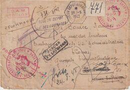 FRANCE : MILITAIRE . EN FM . TOULON . DEPOT DES EQUIPAGES . RAL . DIVERS CACHETS . 1948 . - Marcophilie (Lettres)