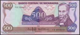 TWN - NICARAGUA 155 - 500 Cordobas 1985 (1988) Prefix FB UNC - Nicaragua