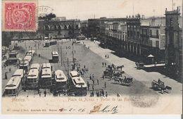 MEXIQUE - MEXICO. CPA Voyagée Plaza De Armas Y Portal De Las Flores - Mexico