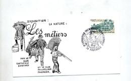 Lettre  Cachet Faverges Exposition  Theme Peche Bucheron Champignon - Marcophilie (Lettres)