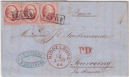 "PAYS - BAS : N° 5 . 3 EX . TARIF A 30 Cts . CAD ROUGE . "" MIDDELBURG "" . TB . 1864 . - 1852-1890 (Wilhelm III.)"