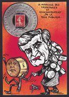 CPM Timbre Monnaie Tirage Limité Signé En 30 Ex. Numérotés Satirique Caricature Casserolles - Münzen (Abb.)