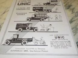 ANCIENNE PUBLICITE LA REINE DES  CAMIONNETTE UNIC   1927 HUITRES ROUSSEAU - Trucks