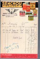 Facturette Conserves SENCHOU  établie à Condom 1939  Syndicat Des épiciers   (M0522B) - France