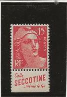 """TYPE GANDON - N° 813 NEUF AVEC PUBLICITE """" COLLE SECOTINE """" ANNEE 1948 - Publicités"""