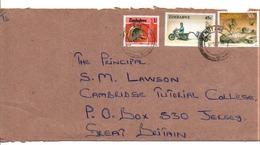 ZIMBABWE AFFRANCHISSEMENT COMPOSE SUR LETTRE POUR JERSEY 1994 - Zimbabwe (1980-...)