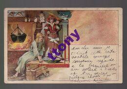 Une Carte Fantaisie  Dessin  Cendrillon  Année 1909 !  à La Lumière On Voit  En Haut à Droite Un Prince Charmant ! - Women