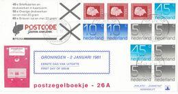 Nederland - FDC Philato Zaanstad - Automaatzegels PB26A - Fosfor Papier - 02-01-1981 - Booklets