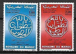 MAROC    -   1987  .  Y&T N° 1019 à 1020 **.    Cachets Postaux  /  Journée Du Timbre - Morocco (1956-...)