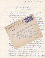 FRANCE LETTRE DE 1941 TIMBRES 50 SUR 65 Cts TYPE PAIX / N° 479 / TAMPON A DATE GRENOBLE GARE ISERE - Marcophilie (Lettres)
