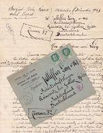 FRANCE LETTRE DE 1943 TIMBRES 2 FR PETAIN TYPE PROST / N° 518 / TAMPON A DATE BREZINS ISERE / HOTEL DE LA GARE - Marcophilie (Lettres)