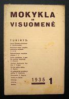 Lithuanian Magazine – Mokykla Ir Visuomenė No. 1 1935 - Books, Magazines, Comics