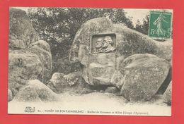 """C.P.A.  ( 77 ) """" FONTAINEBLEAU """"  Forêt De Fontainebleau - Rocher De Rousseau Et Millet (Gorges D'Apremont)   2phot. - Fontainebleau"""