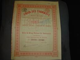 """Titre De 5 Actions""""Union Des Tramways""""Bruxelles 1895 Bon état Avec Tous Les Coupons - Chemin De Fer & Tramway"""