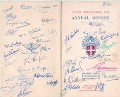 Austine Apprentices 17 Th Annual Dinner Grand Hôtel Birmingham - Longbridge -  Menu Signed By Participants 1950 - Menus