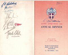 Austine Apprentices 18 Th Annual Dinner - Brins Bath Hotel Droitwich - Longbridge -  Menu Signed By Participants 1951 - Menus