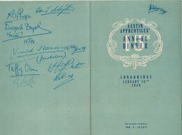 Austine Apprentices 15 Th Annual Dinner - Longbridge -  Menu Signed By Participants 1949 - Birmingham - Menus
