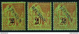 Reunión (Francesa) Nº 31 (tipos I-II-III) Nuevo* - Reunion Island (1852-1975)