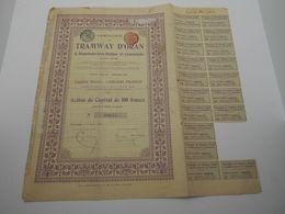 """Action De Capital Tramways D'Oran à Hammam-bou-Hadjar Et Extensions""""1907 Reste Des Coupons Algerie.N° 00645 - Chemin De Fer & Tramway"""