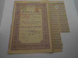 """Action De Capital Tramways D'Oran à Hammam-bou-Hadjar Et Extensions""""1907 Reste Des Coupons Algerie.N° 12657 - Chemin De Fer & Tramway"""