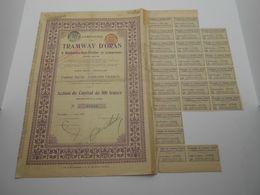 """Action De Capital Tramways D'Oran à Hammam-bou-Hadjar Et Extensions""""1907 Reste Des Coupons Algerie.N° 07046 - Chemin De Fer & Tramway"""