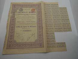 """Action De Capital Tramways D'Oran à Hammam-bou-Hadjar Et Extensions""""1907 Reste Des Coupons Algerie.N° 07282 - Chemin De Fer & Tramway"""