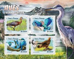 SAO TOME - 2016 - Asian Fauna, Birds - Perf 4v Sheet - M N H - Sao Tome And Principe