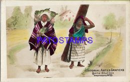 138853 EQUATOR ECUADOR  QUITO ART COSTUMES NATIVE COUPLE WITH LOAD POSTAL POSTCARD - Equateur
