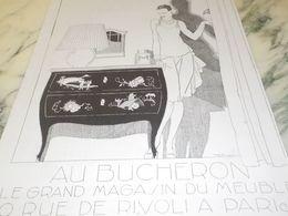 ANCIENNE PUBLICITE MAGASIN DE MEUBLE BUCHERON  1927 - Vintage Clothes & Linen