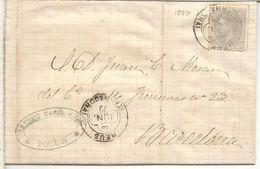 ALFONSO XII REUS TARRAGONA A BARCELONA 1879 MAT TREBOL - 1875-1882 Royaume: Alphonse XII