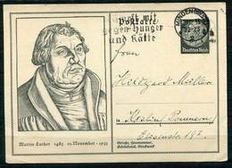 """German Empires 1933 GS Martin Luther Mi.Nr.P224 """"mit Propaganda MWST""""Minden-Kämpft Mit Gegen Hunger U. Kälte """"1GS Used - Theologen"""