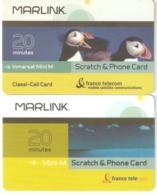 TAAF- 2 Cards Marlink/France Telecom Satellite Prepaid Card 20 Min,used - TAAF - Terres Australes Antarctiques Françaises