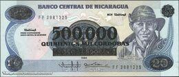 TWN - NICARAGUA 163 - 500.000/20 Cordobas 1985 (1990) Provisional Revalidation Overprint Issue - Prefix FF UNC - Nicaragua