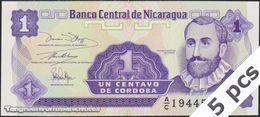 TWN - NICARAGUA 167a - 1 Centavo 1991 DEALERS LOT X 5 - Prefix A/C UNC - Nicaragua