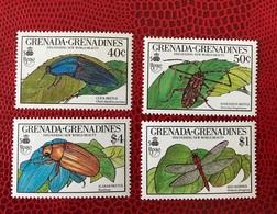 Grenada Grenadines 1990 4 V Neuf ** YT 1113 A 1115 Insects - Insetti