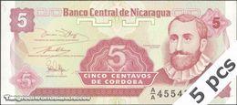 TWN - NICARAGUA 168a - 5 Centavos 1991 DEALERS LOT X 5 - Prefix A/A UNC - Nicaragua