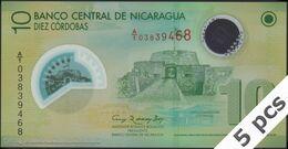 TWN - NICARAGUA 201a - 10 Cordobas 12.9.2007 (2010) DEALERS LOT X 5 - Polymer - Prefix A/1 UNC - Nicaragua