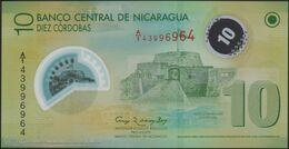 TWN - NICARAGUA 201b - 10 Cordobas 12.9.2007 (2012) Polymer - Prefix A/1 UNC - Nicaragua