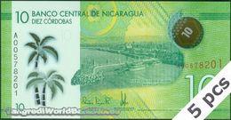TWN - NICARAGUA 209a - 10 Cordobas 26.3.2014 (2015) DEALERS LOT X 5 - Polymer - Prefix A UNC - Nicaragua