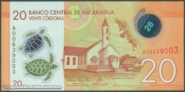 TWN - NICARAGUA 210a - 20 Cordobas 26.3.2014 (2015) Polymer - Prefix A UNC - Nicaragua