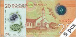 TWN - NICARAGUA 210a - 20 Cordobas 26.3.2014 (2015) DEALERS LOT X 5 - Polymer - Prefix A UNC - Nicaragua