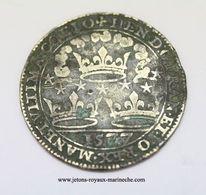 Bretagne Henri III. 1577. M 1000-152b. Cuivre 27 Mm 4.30 Gr. Devise Du Roi Henri III. MANET. VLTIMA. COELO. F8600. - Royaux / De Noblesse