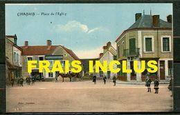 CHABRIS (INDRE) - PLACE DE L'EGLISE - ANIMEE DONT ATTELAGE - CPA COLORISE. - Autres Communes