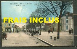 CHABRIS (INDRE) - PLACE DU MARCHE,RUE DU PONT - ANIMEE DONT AUTOMOBILE - CPA COLORISE. - Autres Communes